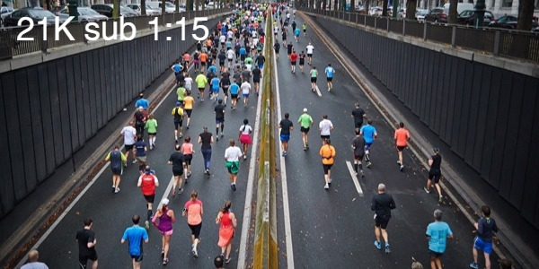 medio maraton 21k sub 1:15